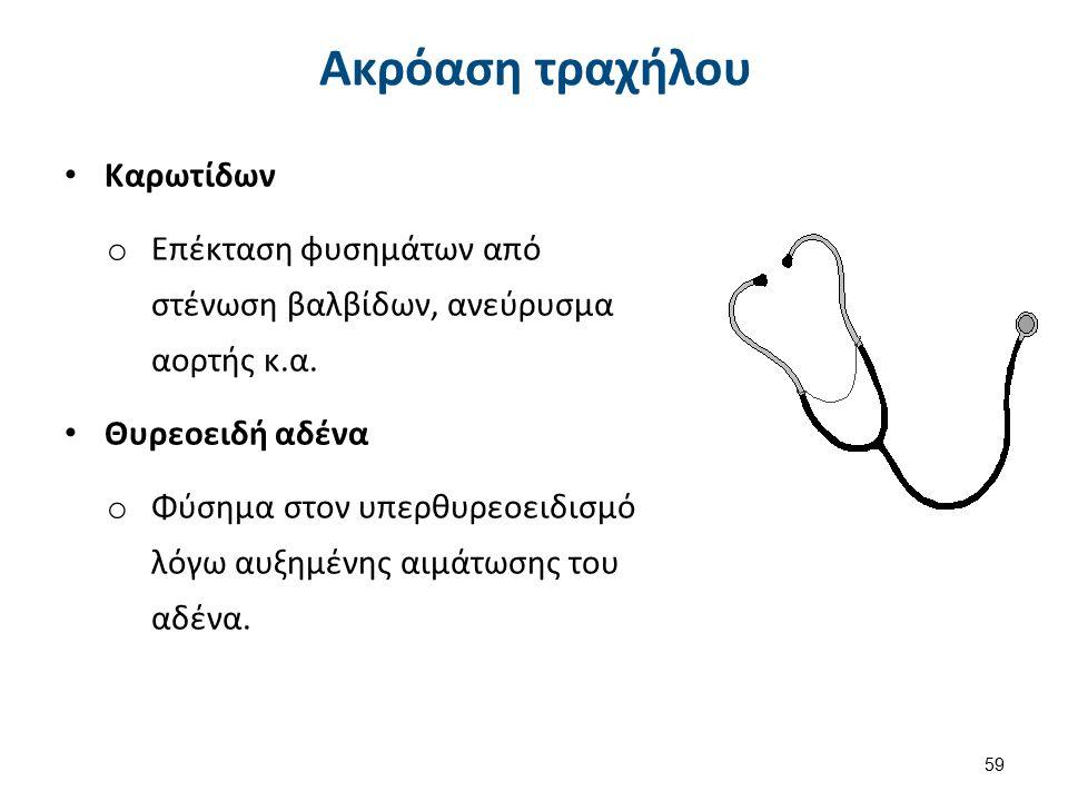 Καρωτίδων o Επέκταση φυσημάτων από στένωση βαλβίδων, ανεύρυσμα αορτής κ.α. Θυρεοειδή αδένα o Φύσημα στον υπερθυρεοειδισμό λόγω αυξημένης αιμάτωσης του