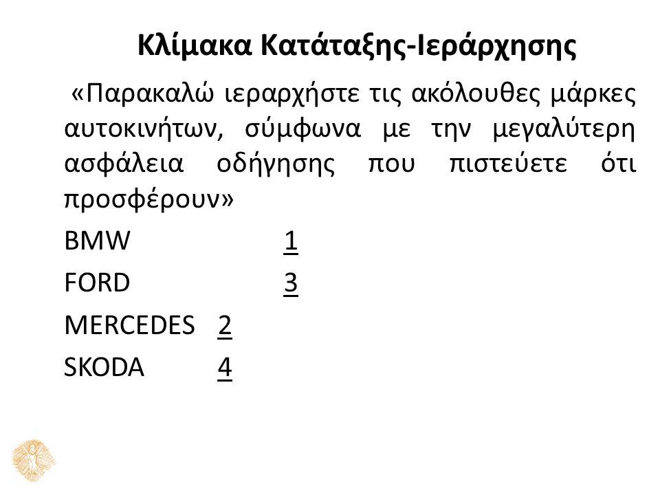 Κλίμακα Κατάταξης-Ιεράρχησης «Παρακαλώ ιεραρχήστε τις ακόλουθες μάρκες αυτοκινήτων, σύμφωνα με την μεγαλύτερη ασφάλεια οδήγησης που πιστεύετε ότι προσφέρουν» ΒΜW1 FORD3 MERCEDES2 SKODA4