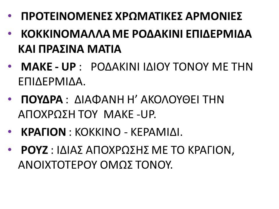 ΣΚΙΕΣ : ΧΡΥΣΟ ΤΟΥ ΚΕΧΡΙΜΠΑΡΙΟΥ HIGHLIGHTER (1), ΚΟΚΚΙΝΟ ΤΟΥ ΧΑΛΚΟΥ (2) ΣΤΟΝ ΕΣΩ ΚΑΝΘΟ ΤΟΥ ΜΑΤΙΟΥ, ΛΑΔΟΠΡΑΣΙΝΟ (3) ΣΤΟΝ ΕΞΩ ΚΑΝΘΟ ΤΟΥ ΜΑΤΙΟΥ, ΣΥΝΕΧΙΖΕΙ ΚΑΙ ΣΤΟ ΚΑΤΩ ΒΛΕΦΑΡΟ.