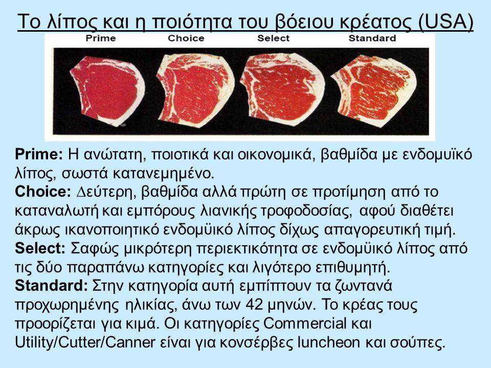 Το λίπος και η ποιότητα του βόειου κρέατος (USA) Prime: Η ανώτατη, ποιοτικά και οικονοµικά, βαθµίδα µε ενδοµυϊκό λίπος, σωστά κατανεµηµένο. Choice: ∆ε