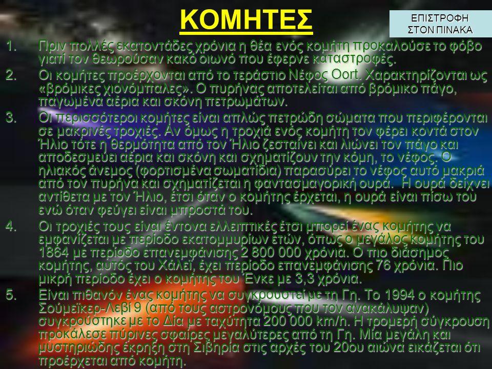 ΖΩΝΗ KUIPER – ΝΕΦΟΣ OORT 1.Ο Πλούτωνας δεν είναι το πιο απομακρυσμένο σώμα που περιφέρεται γύρω από τον Ήλιο. 2.Πέρα από τον Πλούτωνα υπάρχει μία ζώνη