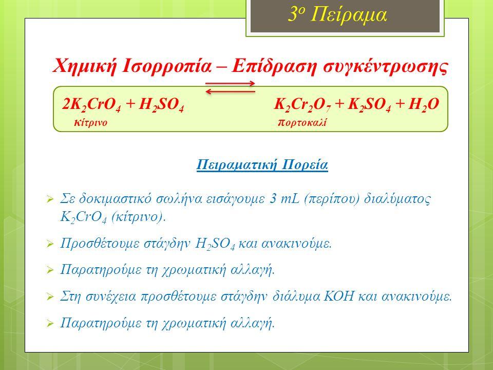 Χημική Ισορροπία – Επίδραση συγκέντρωσης 2K 2 CrO 4 + H 2 SO 4 K 2 Cr 2 O 7 + K 2 SO 4 + H 2 O κ ίτρινο π ορτοκαλί Πειραματική Πορεία  Σε δοκιμαστικό