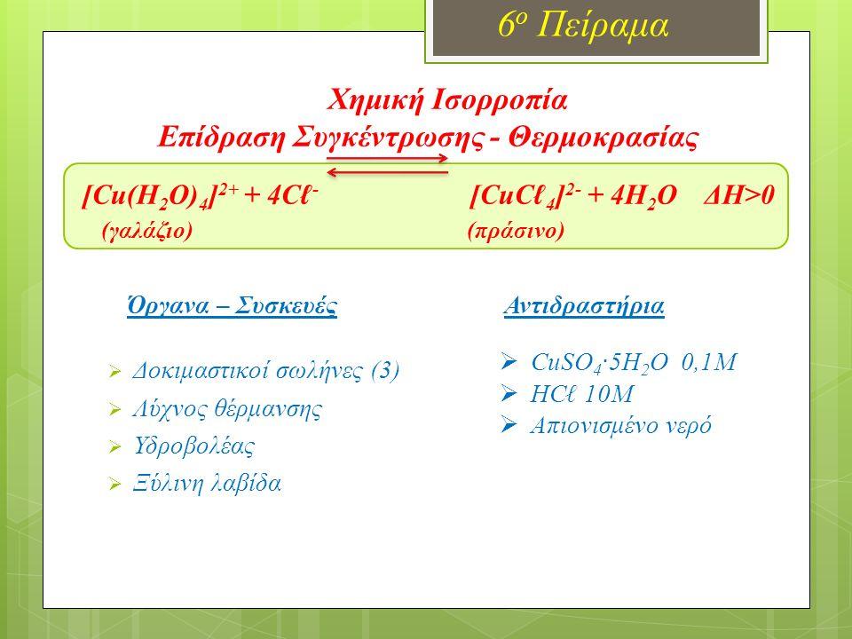 Χημική Ισορροπία Επίδραση Συγκέντρωσης - Θερμοκρασίας [Cu(H 2 O) 4 ] 2+ + 4Cℓ - [CuCℓ 4 ] 2- + 4H 2 O ΔΗ>0 (γαλάζιο) (πράσινο) 6 ο Πείραμα Όργανα – Συ
