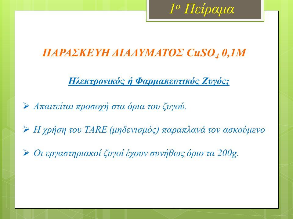 1 ο Πείραμα Ηλεκτρονικός ή Φαρμακευτικός Ζυγός;  Απαιτείται προσοχή στα όρια του ζυγού.  Η χρήση του TARE (μηδενισμός) παραπλανά τον ασκούμενο  Οι