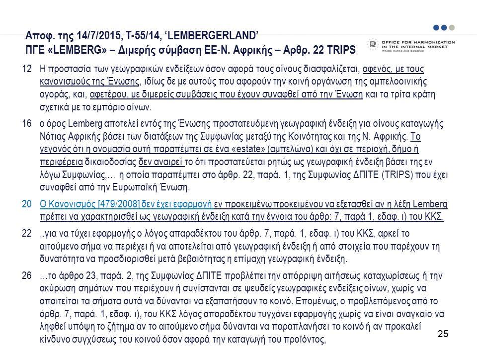 Αποφ. της 14/7/2015, T-55/14, 'LEMBERGERLAND' ΠΓΕ «LEMBERG» – Διμερής σύμβαση ΕΕ-Ν.