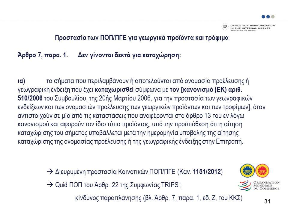 Προστασία των ΠΟΠ/ΠΓΕ για γεωργικά προϊόντα και τρόφιμα Άρθρο 7, παρα.