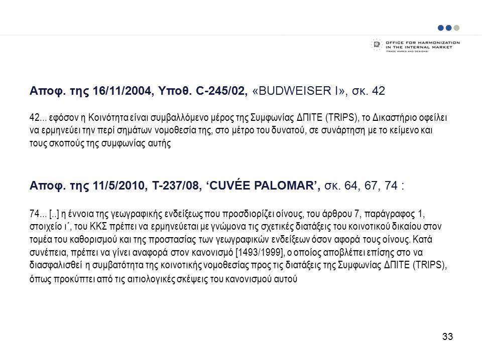 Αποφ. της 16/11/2004, Υποθ. C ‑ 245/02, «BUDWEISER Ι», σκ.