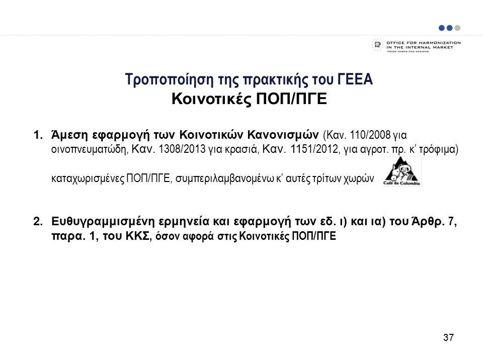 Τροποποίηση της πρακτικής του ΓΕΕΑ Κοινοτικές ΠΟΠ/ΠΓΕ 1.Άμεση εφαρμογή των Κοινοτικών Κανονισμών (Καν.