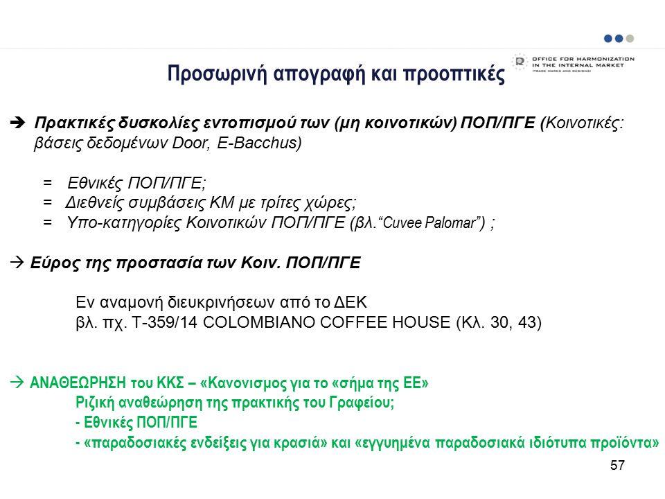 Προσωρινή απογραφή και προοπτικές  Πρακτικές δυσκολίες εντοπισμού των (μη κοινοτικών) ΠΟΠ/ΠΓΕ (Κοινοτικές: βάσεις δεδομένων Door, E-Bacchus) = Εθνικές ΠΟΠ/ΠΓΕ; = Διεθνείς συμβάσεις ΚΜ με τρίτες χώρες; = Υπο-κατηγορίες Κοινοτικών ΠΟΠ/ΠΓΕ (βλ.
