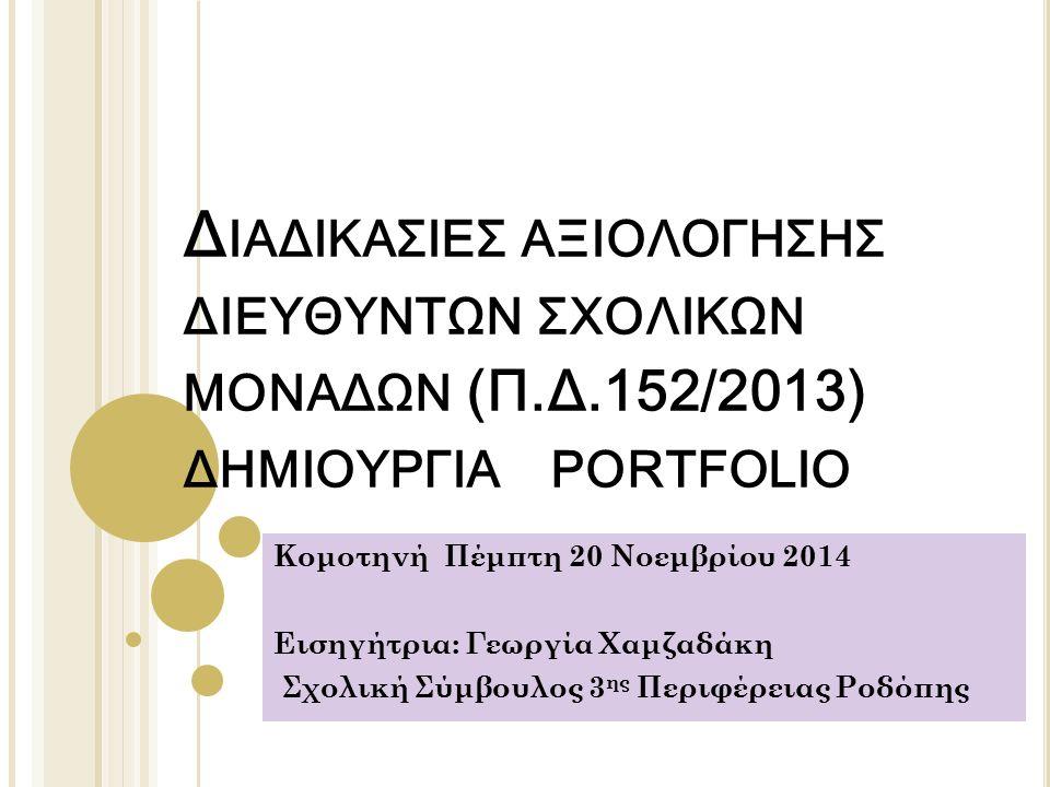 Δ ΙΑΔΙΚΑΣΙΕΣ ΑΞΙΟΛΟΓΗΣΗΣ ΔΙΕΥΘΥΝΤΩΝ ΣΧΟΛΙΚΩΝ ΜΟΝΑΔΩΝ (Π.Δ.152/2013) ΔΗΜΙΟΥΡΓΙΑ PORTFOLIO Κομοτηνή Πέμπτη 20 Νοεμβρίου 2014 Εισηγήτρια: Γεωργία Χαμζαδάκη Σχολική Σύμβουλος 3 ης Περιφέρειας Ροδόπης