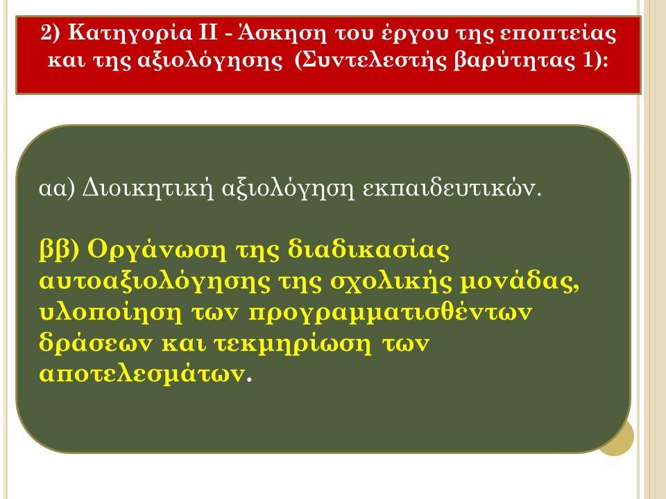 αα) Διοικητική αξιολόγηση εκπαιδευτικών.