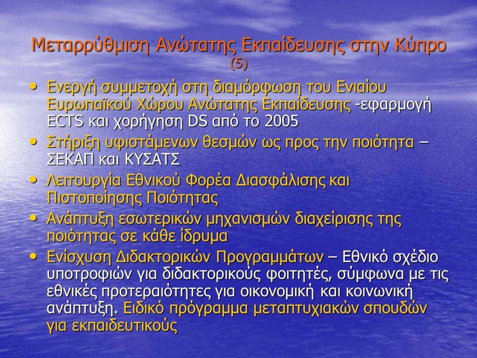 Μεταρρύθμιση Ανώτατης Εκπαίδευσης στην Κύπρο (5) Ενεργή συμμετοχή στη διαμόρφωση του Ενιαίου Ευρωπαϊκού Χώρου Ανώτατης Εκπαίδευσης -εφαρμογή ECTS και χορήγηση DS από το 2005 Ενεργή συμμετοχή στη διαμόρφωση του Ενιαίου Ευρωπαϊκού Χώρου Ανώτατης Εκπαίδευσης -εφαρμογή ECTS και χορήγηση DS από το 2005 Στήριξη υφιστάμενων θεσμών ως προς την ποιότητα – ΣΕΚΑΠ και ΚΥΣΑΤΣ Στήριξη υφιστάμενων θεσμών ως προς την ποιότητα – ΣΕΚΑΠ και ΚΥΣΑΤΣ Λειτουργία Εθνικού Φορέα Διασφάλισης και Πιστοποίησης Ποιότητας Λειτουργία Εθνικού Φορέα Διασφάλισης και Πιστοποίησης Ποιότητας Ανάπτυξη εσωτερικών μηχανισμών διαχείρισης της ποιότητας σε κάθε ίδρυμα Ανάπτυξη εσωτερικών μηχανισμών διαχείρισης της ποιότητας σε κάθε ίδρυμα Ενίσχυση Διδακτορικών Προγραμμάτων – Εθνικό σχέδιο υποτροφιών για διδακτορικούς φοιτητές, σύμφωνα με τις εθνικές προτεραιότητες για οικονομική και κοινωνική ανάπτυξη.