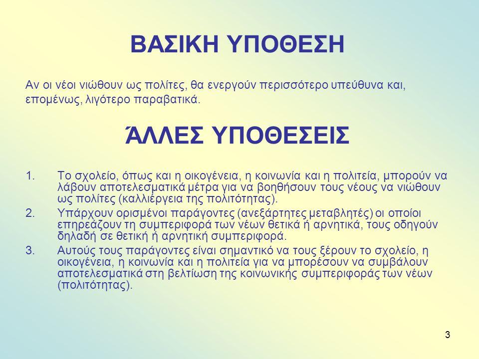 24 ΤΟ ΠΕΡΙΕΧΟΜΕΝΟ ΤΩΝ ΕΝΟΤΗΤΩΝ Α.ΕΜΕΙΣ ΚΑΙ ΤΟ ΚΡΑΤΟΣ 1.Εμείς και οι νόμοι 2.Εμείς και το κράτος 3.Εξουσία και αρχή 4.Κοινωνία των πολιτών Β.ΕΜΕΙΣ ΚΑΙ ΟΙ ΑΛΛΟΙ Κοινωνικό κεφάλαιο Δικαιώματα και υποχρεώσεις Αποκλεισμός Συμπόνια Γ.ΕΜΕΙΣ ΚΑΙ Ο ΕΑΥΤΟΣ ΜΑΣ 1.Ευφυΐα και πολιτότητα 2.Προσωπικές και κοινωνικές δεξιότητες 3.Καλλιέργεια στάσεων που φανερώνουν βασικές αξίες όπως η αξιοπρέπεια, η αξία του αυτοδημιούργητου και η πολιτισμένη συμπεριφορά.