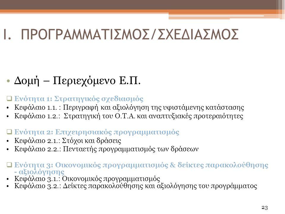 23 Δομή – Περιεχόμενο Ε.Π.  Ενότητα 1: Στρατηγικός σχεδιασμός Κεφάλαιο 1.1.