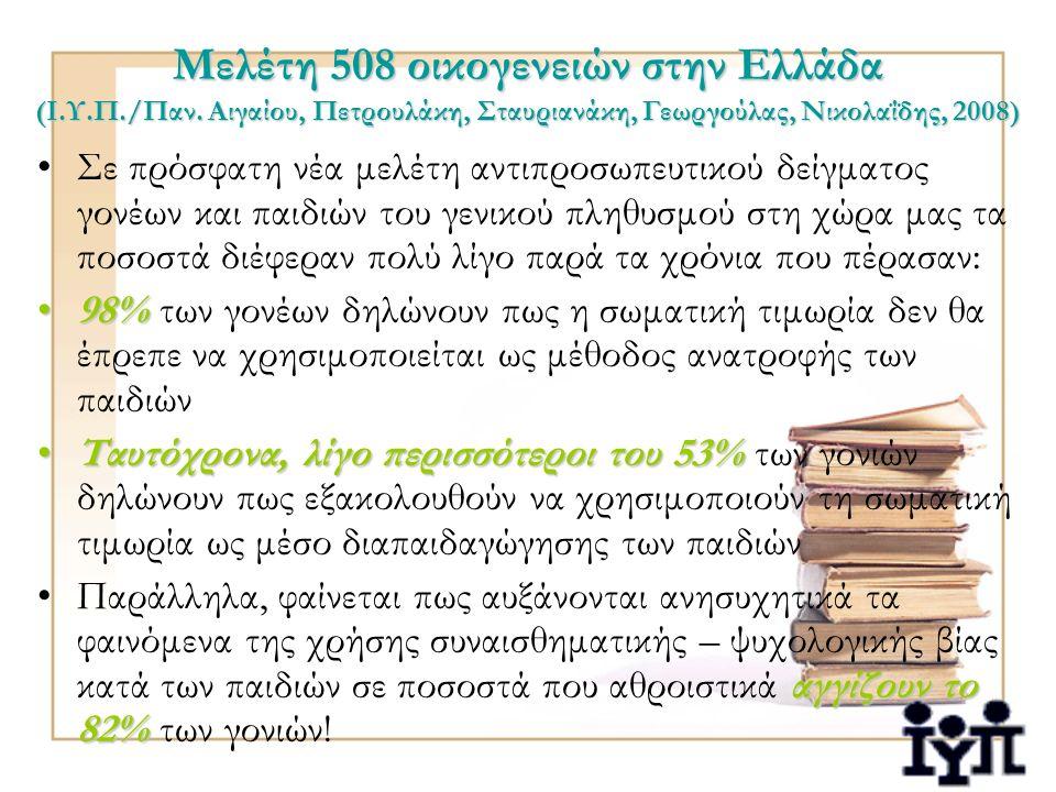 Μελέτη 508 οικογενειών στην Ελλάδα (Ι.Υ.Π./Παν. Αιγαίου, Πετρουλάκη, Σταυριανάκη, Γεωργούλας, Νικολαΐδης, 2008) Σε πρόσφατη νέα μελέτη αντιπροσωπευτικ