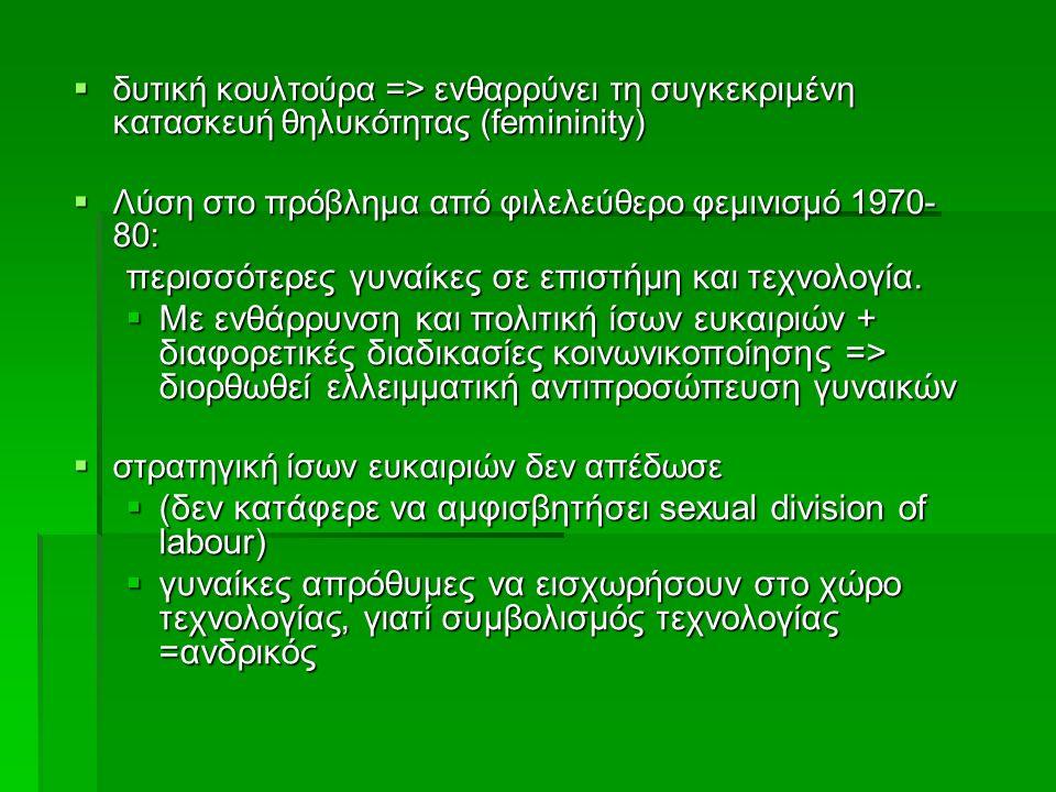  δυτική κουλτούρα => ενθαρρύνει τη συγκεκριμένη κατασκευή θηλυκότητας (femininity)  Λύση στο πρόβλημα από φιλελεύθερο φεμινισμό 1970- 80: περισσότερ