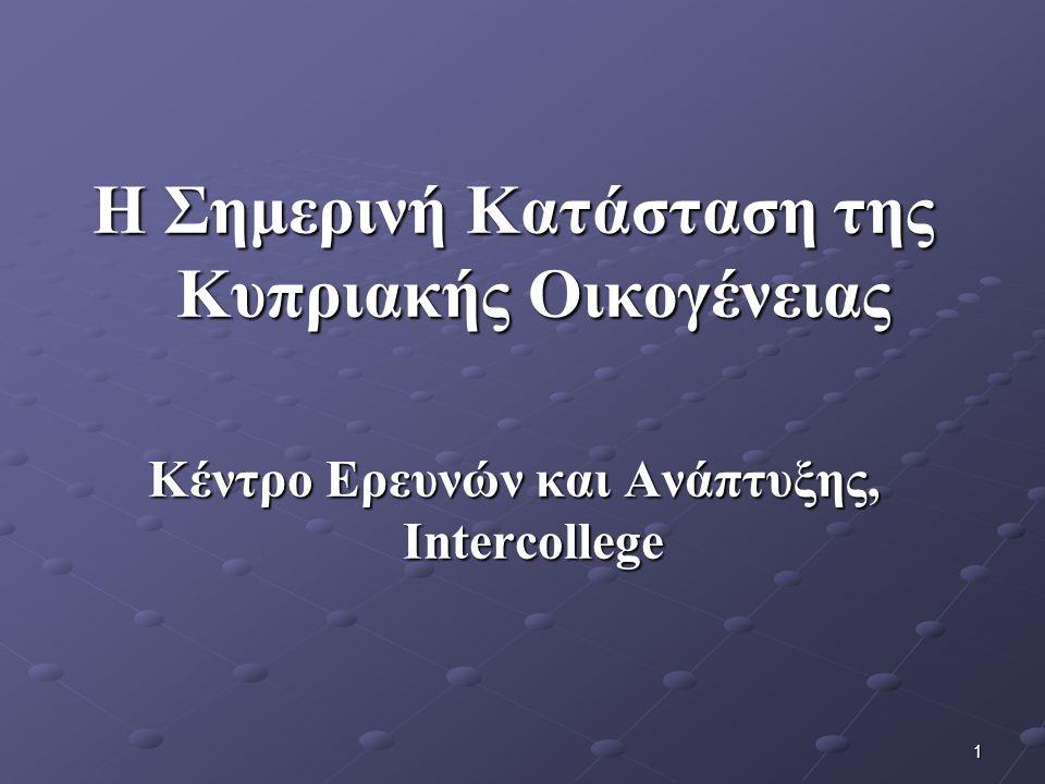 1 Η Σημερινή Κατάσταση της Κυπριακής Οικογένειας Κέντρο Ερευνών και Ανάπτυξης, Intercollege