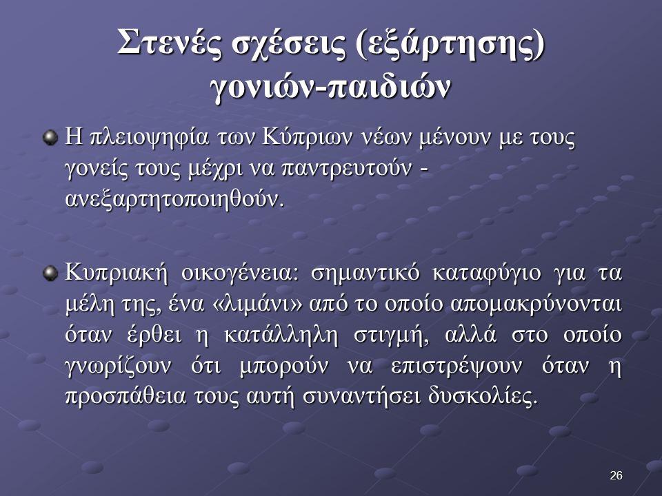 26 Στενές σχέσεις (εξάρτησης) γονιών-παιδιών Η πλειοψηφία των Κύπριων νέων μένουν με τους γονείς τους μέχρι να παντρευτούν - ανεξαρτητοποιηθούν.
