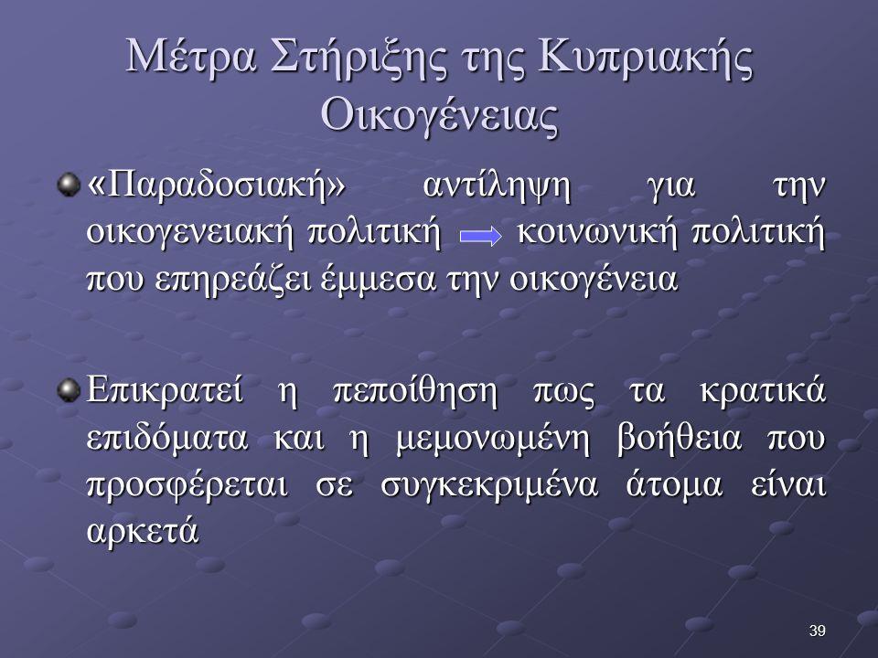 39 Μέτρα Στήριξης της Κυπριακής Οικογένειας « Παραδοσιακή» αντίληψη για την οικογενειακή πολιτική κοινωνική πολιτική που επηρεάζει έμμεσα την οικογένεια Επικρατεί η πεποίθηση πως τα κρατικά επιδόματα και η μεμονωμένη βοήθεια που προσφέρεται σε συγκεκριμένα άτομα είναι αρκετά