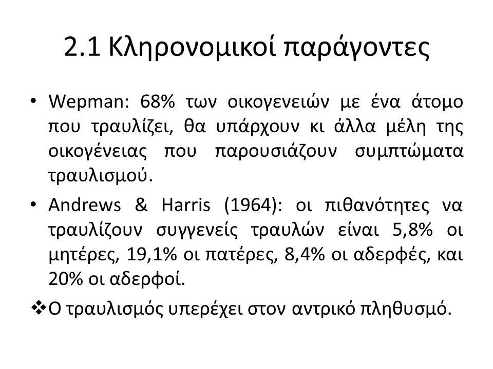 2.1 Κληρονομικοί παράγοντες Wepman: 68% των οικογενειών με ένα άτομο που τραυλίζει, θα υπάρχουν κι άλλα μέλη της οικογένειας που παρουσιάζουν συμπτώματα τραυλισμού.