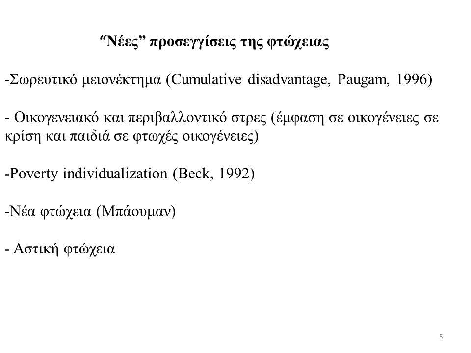 5 Νέες προσεγγίσεις της φτώχειας -Σωρευτικό μειονέκτημα (Cumulative disadvantage, Paugam, 1996) - Οικογενειακό και περιβαλλοντικό στρες (έμφαση σε οικογένειες σε κρίση και παιδιά σε φτωχές οικογένειες) -Poverty individualization (Beck, 1992) -Νέα φτώχεια (Μπάουμαν) - Αστική φτώχεια