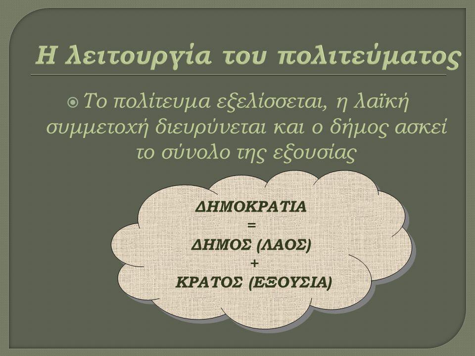  Το πολίτευμα εξελίσσεται, η λαϊκή συμμετοχή διευρύνεται και ο δήμος ασκεί το σύνολο της εξουσίας ΔΗΜΟΚΡΑΤΙΑ = ΔΗΜΟΣ (ΛΑΟΣ) + ΚΡΑΤΟΣ (ΕΞΟΥΣΙΑ) ΔΗΜΟΚΡΑΤΙΑ = ΔΗΜΟΣ (ΛΑΟΣ) + ΚΡΑΤΟΣ (ΕΞΟΥΣΙΑ)
