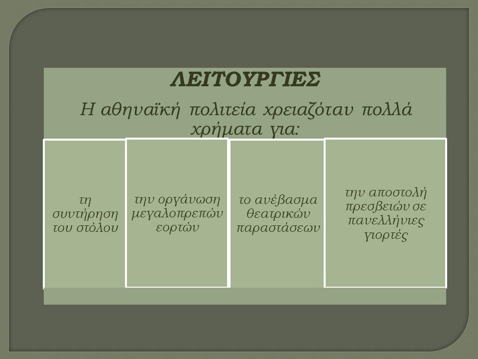 ΛΕΙΤΟΥΡΓΙΕΣ Η αθηναϊκή πολιτεία χρειαζόταν πολλά χρήματα για: τη συντήρηση του στόλου την οργάνωση μεγαλοπρεπών εορτών το ανέβασμα θεατρικών παραστάσεων την αποστολή πρεσβειών σε πανελλήνιες γιορτές