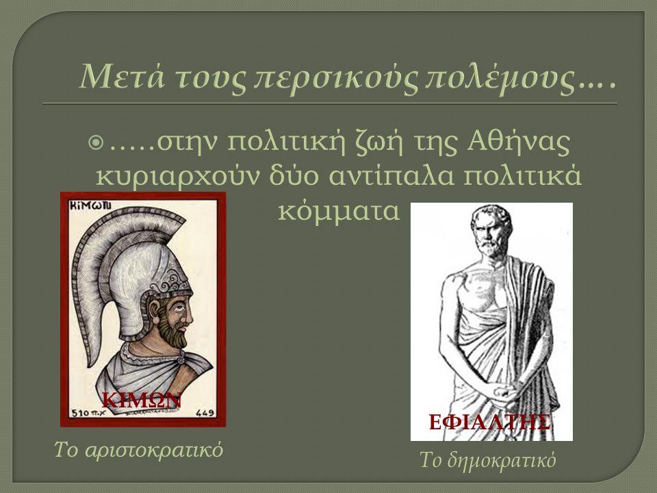  …..στην πολιτική ζωή της Αθήνας κυριαρχούν δύο αντίπαλα πολιτικά κόμματα Το αριστοκρατικό ΚΙΜΩΝ Το δημοκρατικό ΕΦΙΑΛΤΗΣ