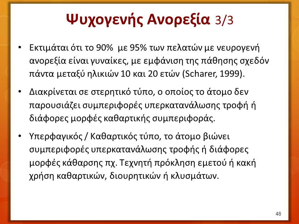 Ψυχογενής Ανορεξία 3/3 Εκτιμάται ότι το 90% με 95% των πελατών με νευρογενή ανορεξία είναι γυναίκες, με εμφάνιση της πάθησης σχεδόν πάντα μεταξύ ηλικιών 10 και 20 ετών (Scharer, 1999).