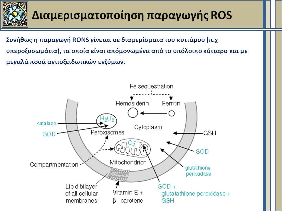 Διαμερισματοποίηση παραγωγής ROS Συνήθως η παραγωγή RONS γίνεται σε διαμερίσματα του κυττάρου (π.χ υπεροξυσωμάτια), τα οποία είναι απόμονωμένα από το υπόλοιπο κύτταρο και με μεγαλά ποσά αντιοξειδωτικών ενζύμων.