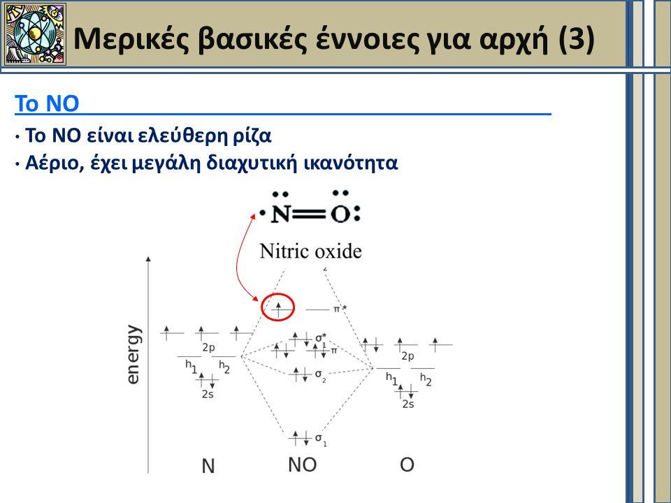 Μερικές βασικές έννοιες για αρχή (3) Το ΝΟ Το ΝΟ είναι ελεύθερη ρίζα Αέριο, έχει μεγάλη διαχυτική ικανότητα