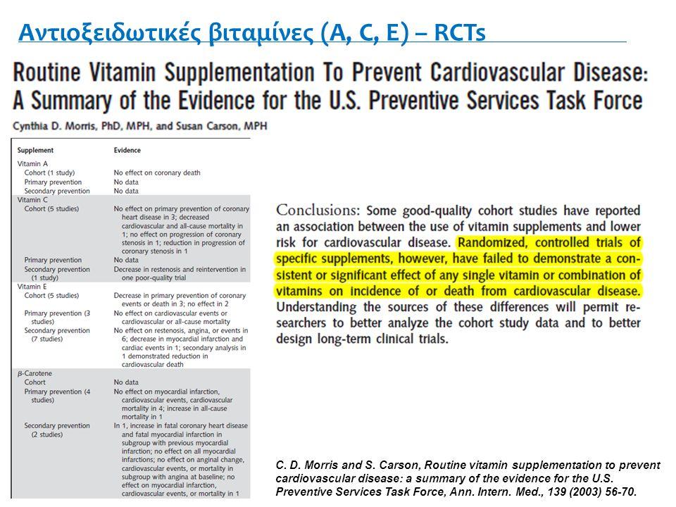 Αντιοξειδωτικές βιταμίνες (Α, C, E) – RCTs C. D. Morris and S.