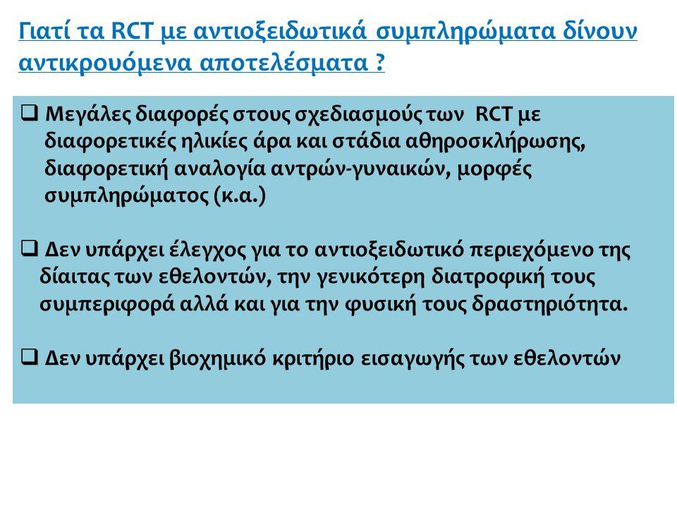 Γιατί τα RCT με αντιοξειδωτικά συμπληρώματα δίνουν αντικρουόμενα αποτελέσματα .