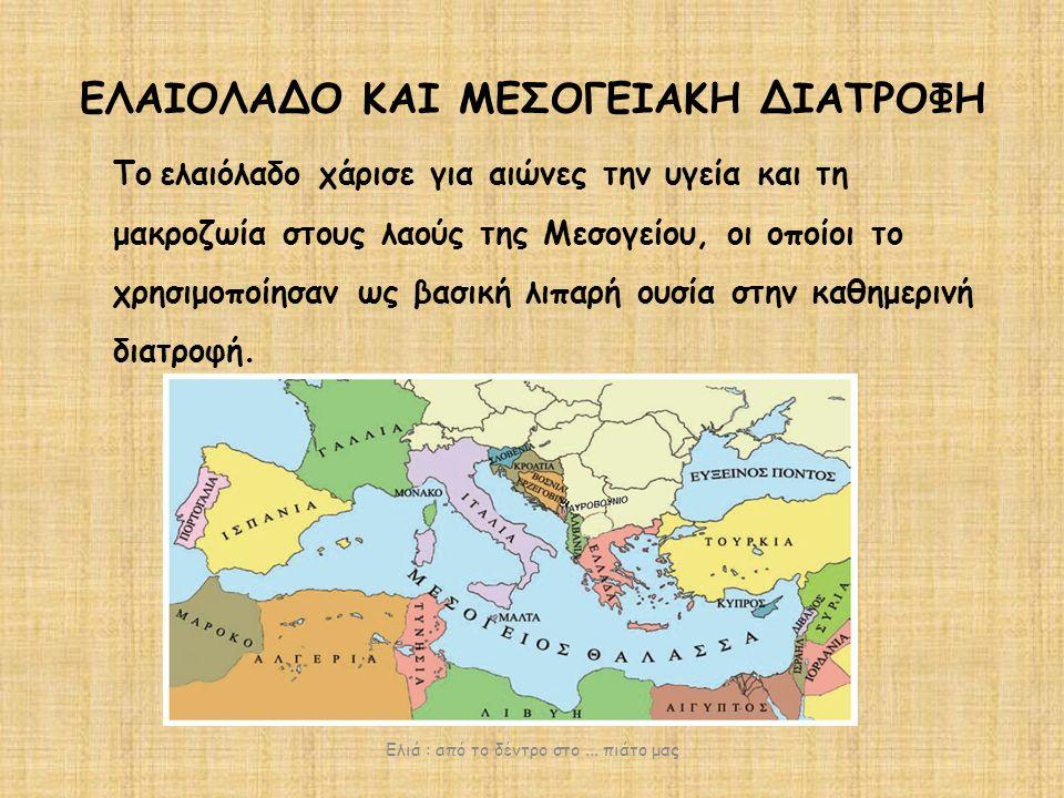 ΕΛΑΙΟΛΑΔΟ ΚΑΙ ΜΕΣΟΓΕΙΑΚΗ ΔΙΑΤΡΟΦΗ Το ελαιόλαδο χάρισε για αιώνες την υγεία και τη μακροζωία στους λαούς της Μεσογείου, οι οποίοι το χρησιμοποίησαν ως βασική λιπαρή ουσία στην καθημερινή διατροφή.