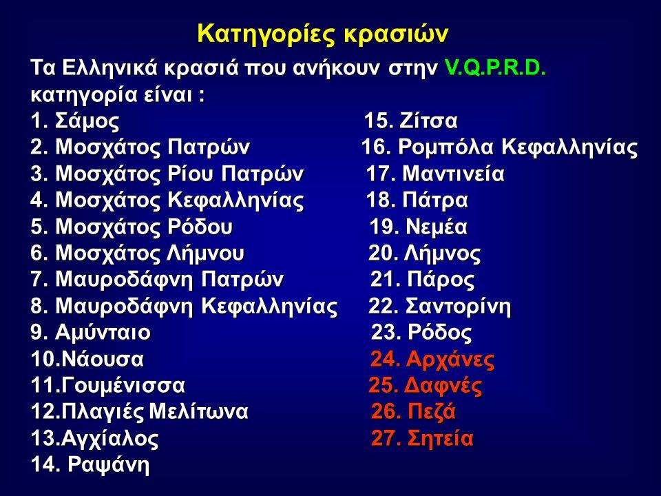 Κατηγορίες κρασιών Τα Ελληνικά κρασιά που ανήκουν στην V.Q.P.R.D.