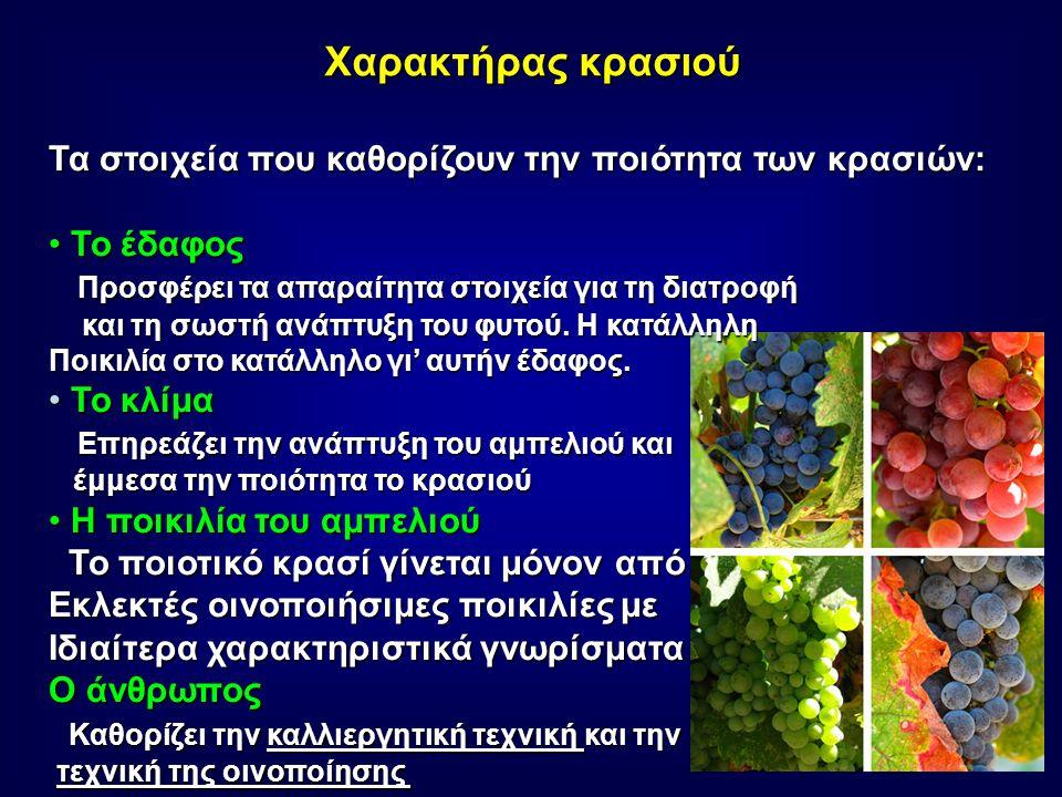 Χαρακτήρας κρασιού Τα στοιχεία που καθορίζουν την ποιότητα των κρασιών: Το έδαφος Το έδαφος Προσφέρει τα απαραίτητα στοιχεία για τη διατροφή Προσφέρει τα απαραίτητα στοιχεία για τη διατροφή και τη σωστή ανάπτυξη του φυτού.