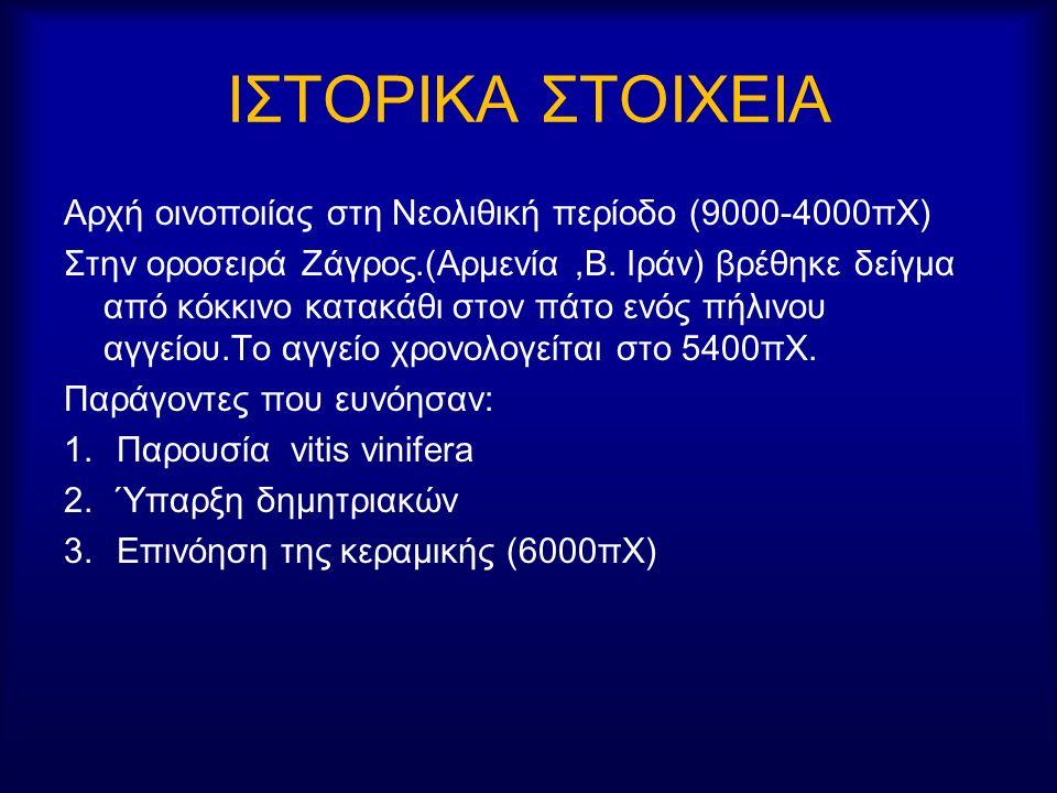 ΙΣΤΟΡΙΚΑ ΣΤΟΙΧΕΙΑ Αρχή οινοποιίας στη Νεολιθική περίοδο (9000-4000πΧ) Στην οροσειρά Ζάγρος.(Αρμενία,Β.