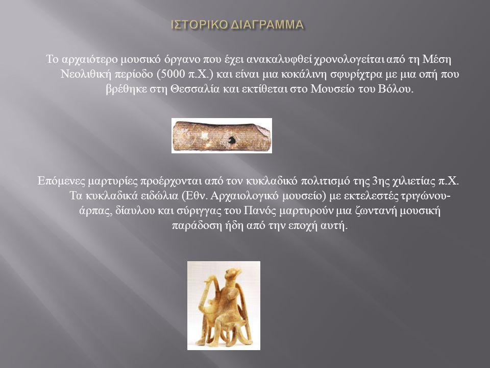 Το αρχαιότερο μουσικό όργανο που έχει ανακαλυφθεί χρονολογείται από τη Μέση Νεολιθική περίοδο (5000 π.