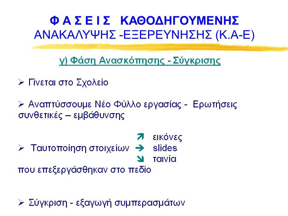 Φ Α Σ Ε Ι Σ ΚΑΘΟΔΗΓΟΥΜΕΝΗΣ ΑΝΑΚΑΛΥΨΗΣ -ΕΞΕΡΕΥΝΗΣΗΣ (Κ.Α-Ε)