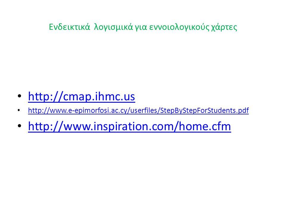 Ενδεικτικά λογισμικά για εννοιολογικούς χάρτες http://cmap.ihmc.us http://www.e-epimorfosi.ac.cy/userfiles/StepByStepForStudents.pdf http://www.e-epimorfosi.ac.cy/userfiles/StepByStepForStudents.pdf http://www.inspiration.com/home.cfm