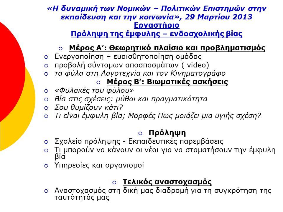 «Η δυναμική των Νομικών – Πολιτικών Επιστημών στην εκπαίδευση και την κοινωνία», 29 Μαρτίου 2013 Εργαστήριο Πρόληψη της έμφυλης – ενδοσχολικής βίας  Μέρος Α': Θεωρητικό πλαίσιο και προβληματισμός  Ενεργοποίηση – ευαισθητοποίηση ομάδας  προβολή σύντομων αποσπασμάτων ( video)  τα φύλα στη Λογοτεχνία και τον Κινηματογράφο  Μέρος Β': Βιωματικές ασκήσεις  «Φυλακές του φύλου»  Βία στις σχέσεις: μύθοι και πραγματικότητα  Σου θυμίζουν κάτι.