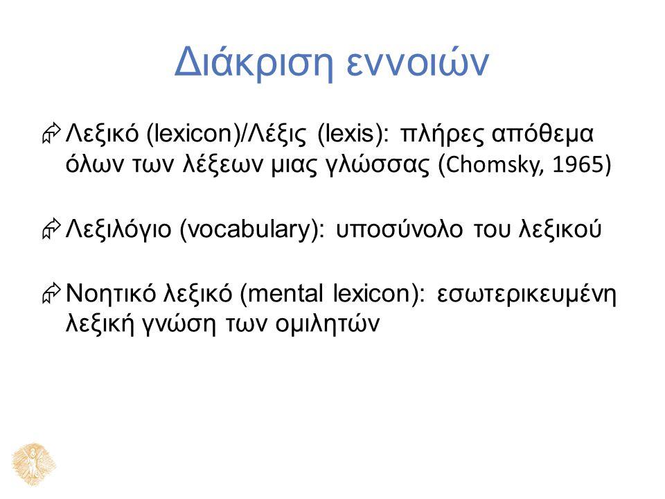 Διάκριση εννοιών  Λεξικό (lexicon)/Λέξις (lexis): πλήρες απόθεμα όλων των λέξεων μιας γλώσσας ( Chomsky, 1965)  Λεξιλόγιο (vocabulary): υποσύνολο του λεξικού  Νοητικό λεξικό (mental lexicon): εσωτερικευμένη λεξική γνώση των ομιλητών