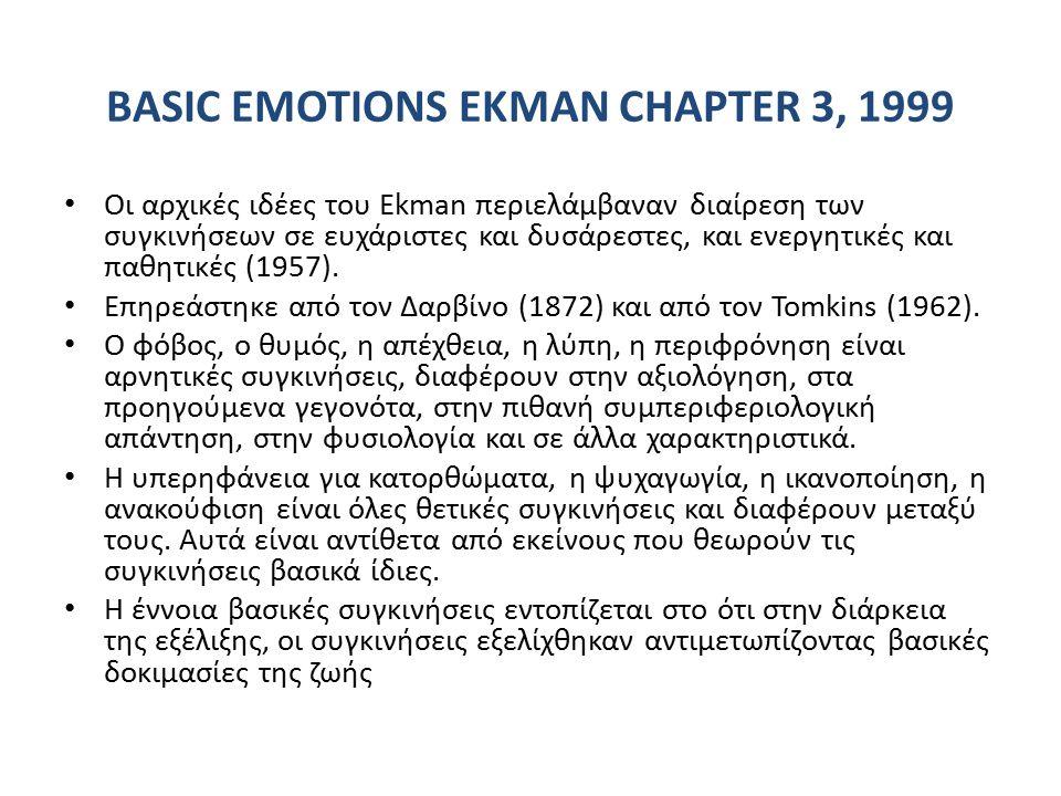 BASIC EMOTIONS EKMAN CHAPTER 3, 1999 Οι αρχικές ιδέες του Ekman περιελάμβαναν διαίρεση των συγκινήσεων σε ευχάριστες και δυσάρεστες, και ενεργητικές και παθητικές (1957).