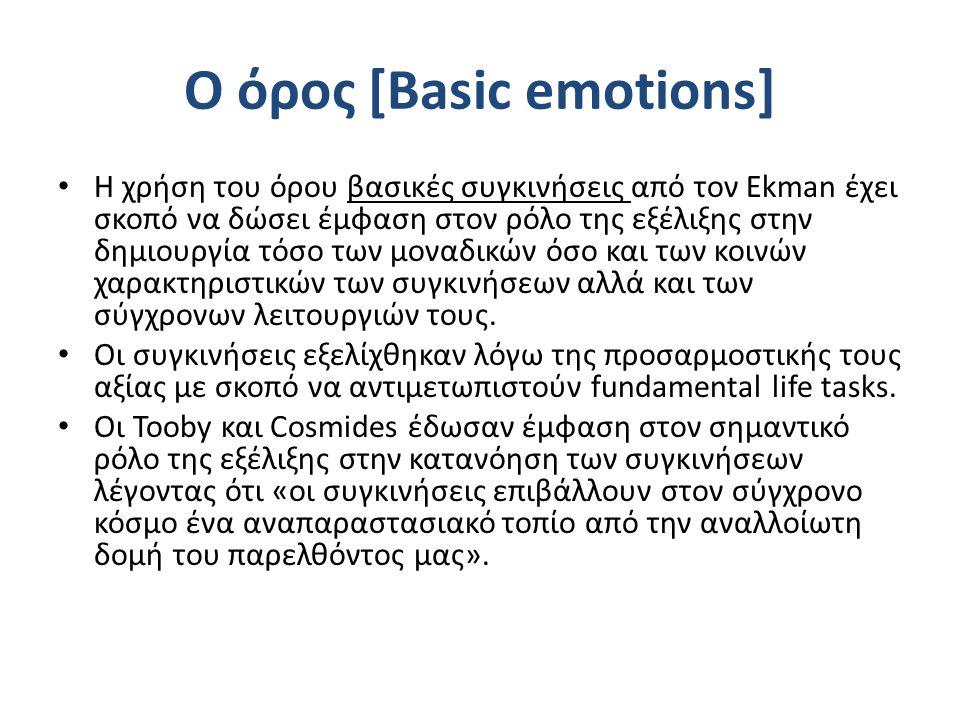 Ο όρος [Basic emotions] Η χρήση του όρου βασικές συγκινήσεις από τον Ekman έχει σκοπό να δώσει έμφαση στον ρόλο της εξέλιξης στην δημιουργία τόσο των μοναδικών όσο και των κοινών χαρακτηριστικών των συγκινήσεων αλλά και των σύγχρονων λειτουργιών τους.