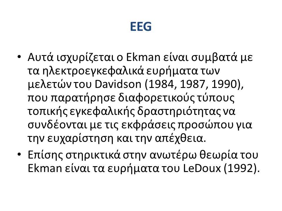 EEG Αυτά ισχυρίζεται ο Ekman είναι συμβατά με τα ηλεκτροεγκεφαλικά ευρήματα των μελετών του Davidson (1984, 1987, 1990), που παρατήρησε διαφορετικούς τύπους τοπικής εγκεφαλικής δραστηριότητας να συνδέονται με τις εκφράσεις προσώπου για την ευχαρίστηση και την απέχθεια.