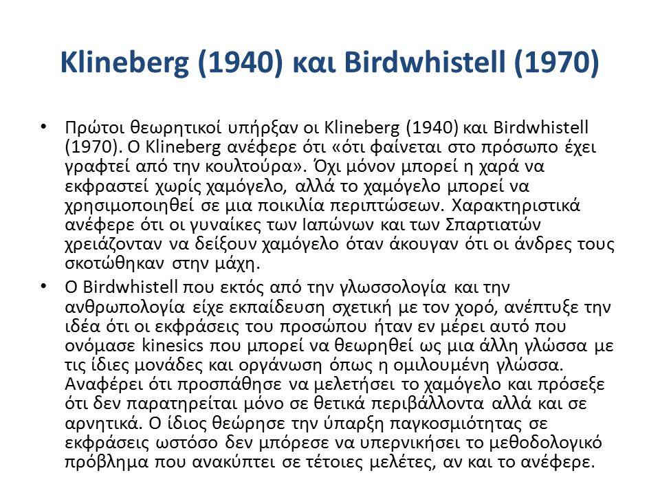Klineberg (1940) και Birdwhistell (1970) Πρώτοι θεωρητικοί υπήρξαν οι Klineberg (1940) και Birdwhistell (1970).