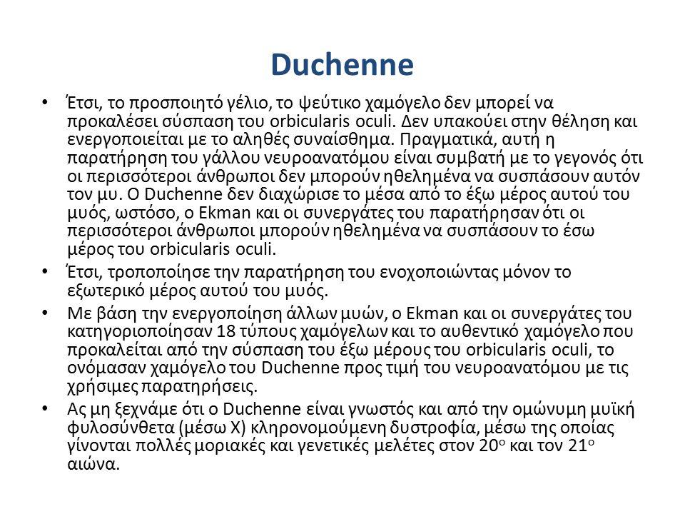 Duchenne Έτσι, το προσποιητό γέλιο, το ψεύτικο χαμόγελο δεν μπορεί να προκαλέσει σύσπαση του orbicularis oculi.