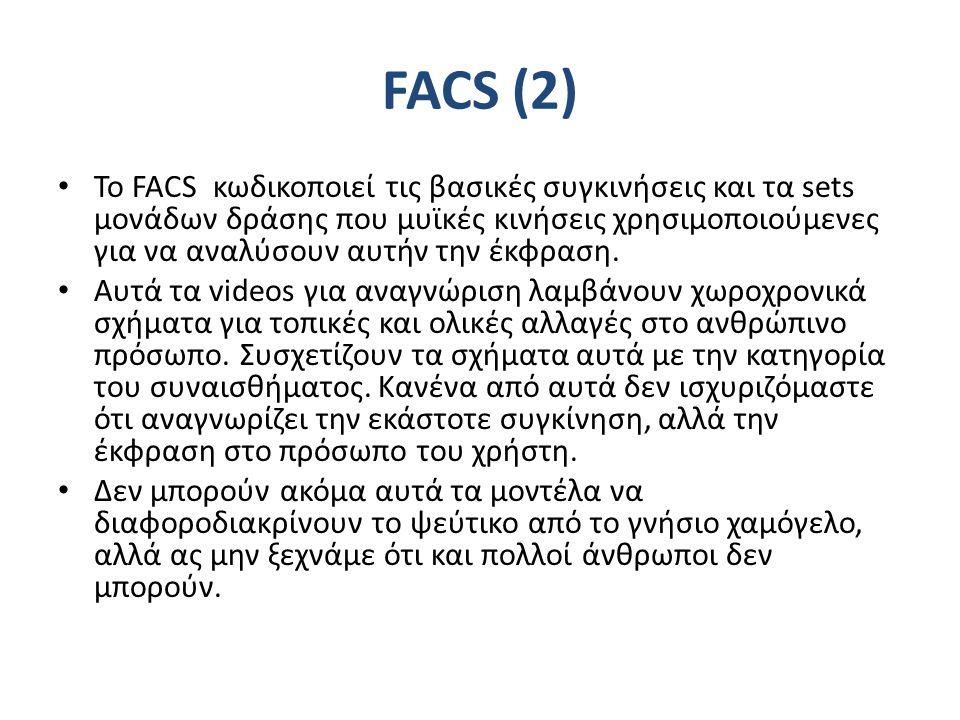 FACS (2) Το FACS κωδικοποιεί τις βασικές συγκινήσεις και τα sets μονάδων δράσης που μυϊκές κινήσεις χρησιμοποιούμενες για να αναλύσουν αυτήν την έκφραση.