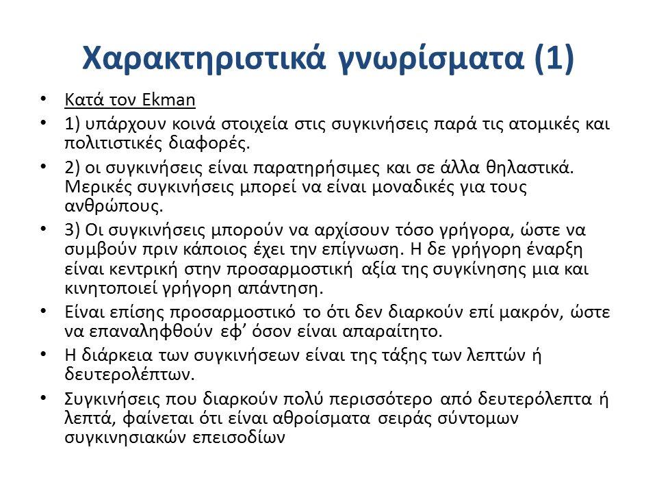 Χαρακτηριστικά γνωρίσματα (1) Κατά τον Ekman 1) υπάρχουν κοινά στοιχεία στις συγκινήσεις παρά τις ατομικές και πολιτιστικές διαφορές.