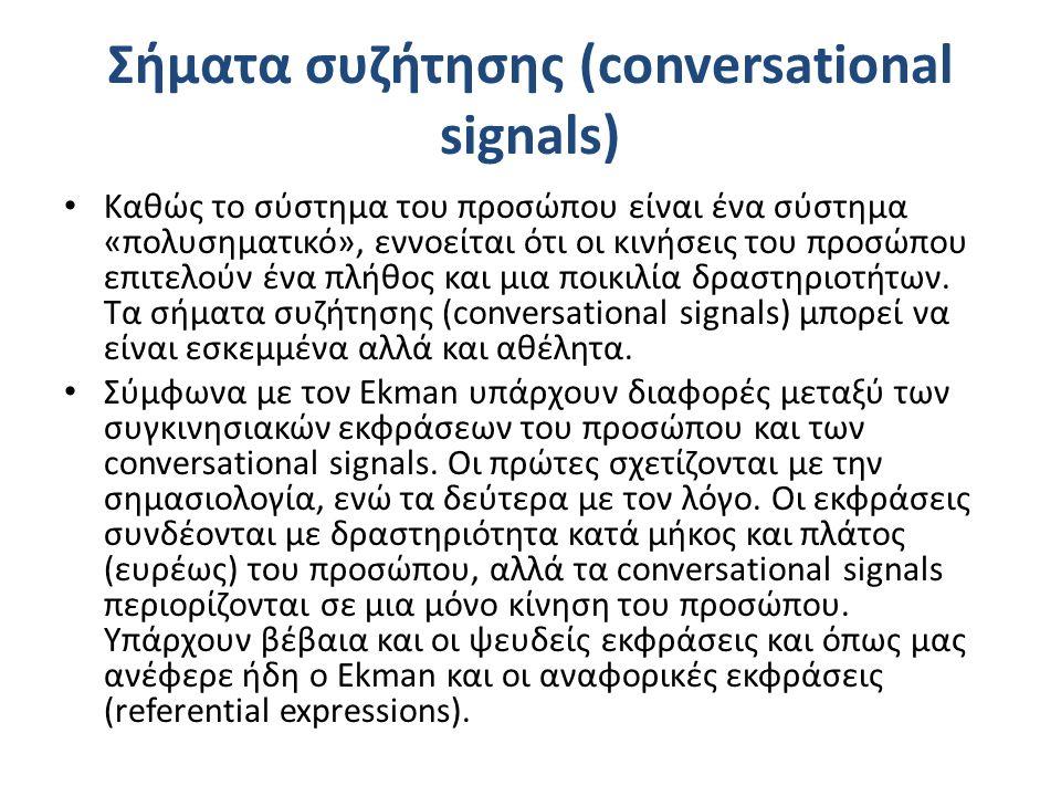 Σήματα συζήτησης (conversational signals) Καθώς το σύστημα του προσώπου είναι ένα σύστημα «πολυσηματικό», εννοείται ότι οι κινήσεις του προσώπου επιτελούν ένα πλήθος και μια ποικιλία δραστηριοτήτων.